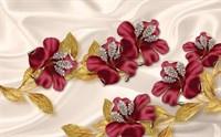 Фотообои 3D  Лилии с золотыми листьями  200*270см