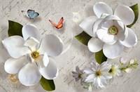 Фотообои 3D  Белые цветы  300*270см