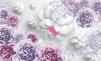 Фотообои 3D  Объемные пионы с бабочками  300*240см