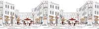 Панель фартук Уличное кафе АБС 3,0 х 0,60
