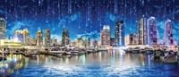G029  300/270 3D Фотообои   Звездопад над ночным городом